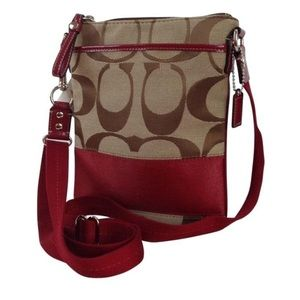 Coach Messenger Swingpack Stripe Red Fabric Purse